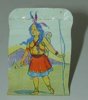 Cracker Jack Premium Lithographed Tin Standee Indian Squaw With Papoose 1920