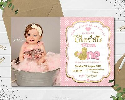 Minnie Mouse First 1St Birthday Personalised Invitations Invite Pink Gold Photo