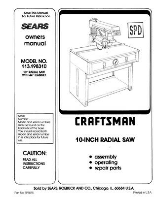 Craftsman 113.198310 Radial Saw Owners Instruction Manual