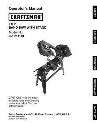 Craftsman 351.214140 Band Saw Owners Instruction Manual