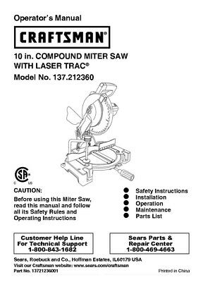 Craftsman 137.212360 Miter Saw Owners Instruction Manual