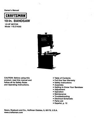 Craftsman 119.214000 Band Saw Owners Instruction Manual