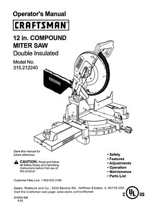 Craftsman 315.212240 Miter Saw Owners Instruction Manual