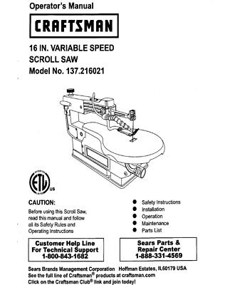 Craftsman 137.216021 Scroll Saw Owners Instruction Manual