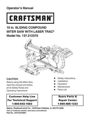 Craftsman 137.212370 Miter Saw Owners Instruction Manual
