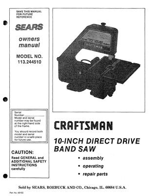 Craftsman 113.244510 Band Saw Owners Instruction Manual