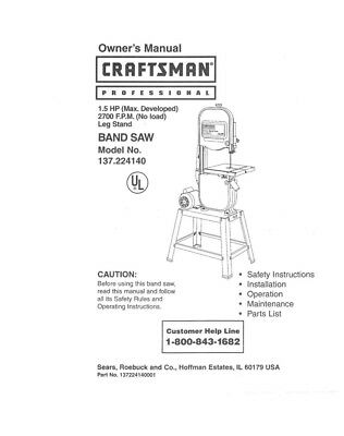 Craftsman 137.224140 Band Saw Owners Instruction Manual