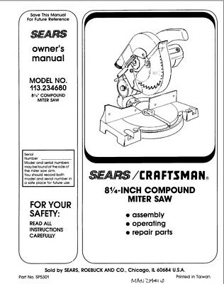 Craftsman 113.234680 Miter Saw Owners Instruction Manual