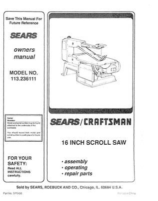 Craftsman 113.236111 Scroll Saw Owners Instruction Manual