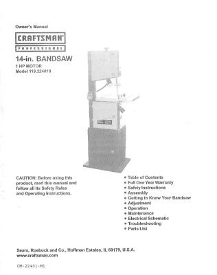 Craftsman 119.224010 Band Saw Owners Instruction Manual