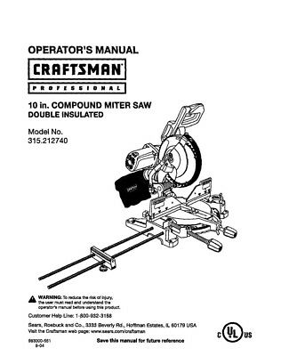 Craftsman 315.212740 Miter Saw Owners Instruction Manual