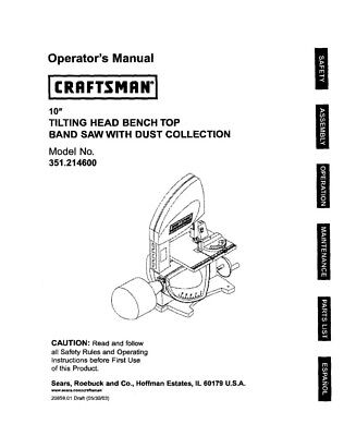 Craftsman 351.214600 Band Saw Owners Instruction Manual