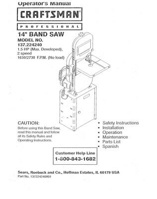 Craftsman 137.224240 Band Saw Owners Instruction Manual
