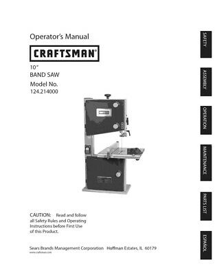 Craftsman 124.214000 Band Saw Owners Instruction Manual