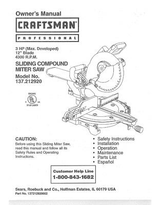 Craftsman 137.212920 Miter Saw Owners Instruction Manual