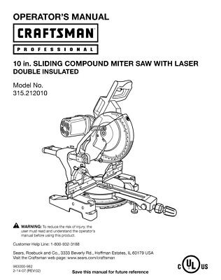 Craftsman 315.212010 Miter Saw Owners Instruction Manual