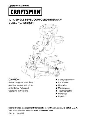 Craftsman 126.32561 Miter Saw Owners Instruction Manual