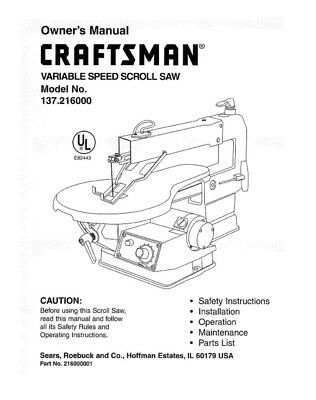 Craftsman 137.216000 Scroll Saw Owners Instruction Manual