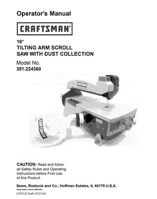Craftsman 351.224360 Scroll Saw Owners Instruction Manual