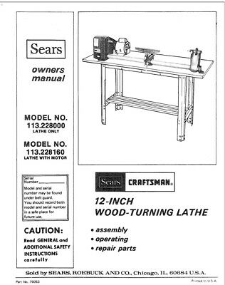 Craftsman 113.228000 113.228160 Lathe Owners Instruction Manual