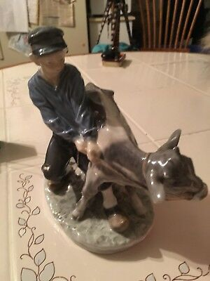 Royal Copenhagen Denmark Figurine Boy with Calf #772 Christian Thomsen Cow Farm
