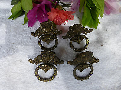 FOUR  fancy Victorian brass plate drawer pulls-- Lot No.4