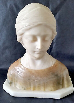 Antique Italian Marble And Alabaster Bust Of Dante's Beatrice By E. Castellucci
