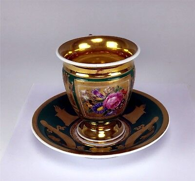 Antique Hand Painted, Egyptian Revival Cup & Saucer w/ Extensive Gilt