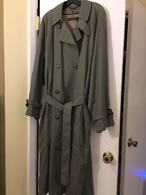 Brooks Brothers OLIVE Wool Lined Double Breasted TRENCH COAT 42 REG