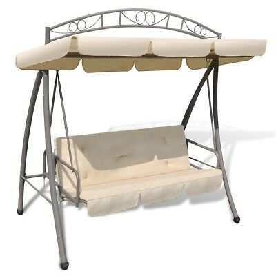 New Outdoor Swing Chair/Bed Canopy Patterned Arch Sand White Shade Shelter Patio