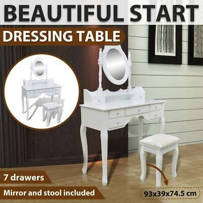 vidaXL Dressing Table White XXL Mirror Stool Drawer Jewellery Cabinet Makeup