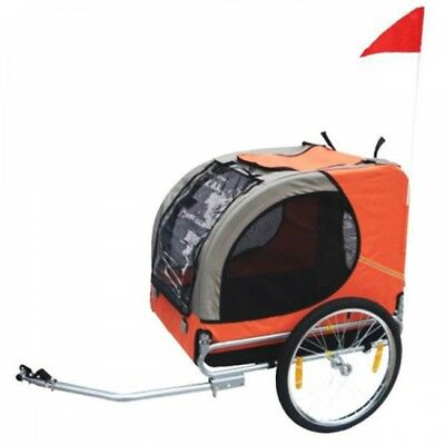 Orange Pet Bike Trailer Dog Bicycle Stroller Foldable Cargo Cat Pram Jogger Kids