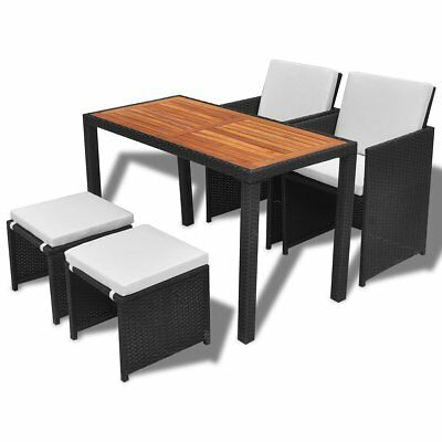 vidaXL 11pc Black Rattan Outdoor Dining Furniture Set Chairs Acacia Wood Table