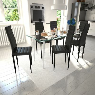 vidaXL 6x Dining Chairs with Slim Line Black Artificial Leather Kitchen Seats