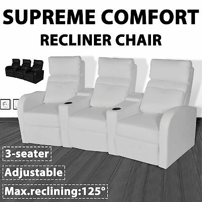 vidaXL 3 Seater Sofa Couch Home Theatre Cinema Lounge Recliner White/Black