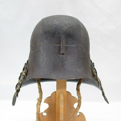 H435: REAL old Japanese iron SAMURAI helmet KABUTO of armor YOROI in 1700's