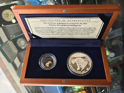 2001 Prospector 150th Anniversary 1oz 999 Silver Proof Coin with Gold Nugget Set