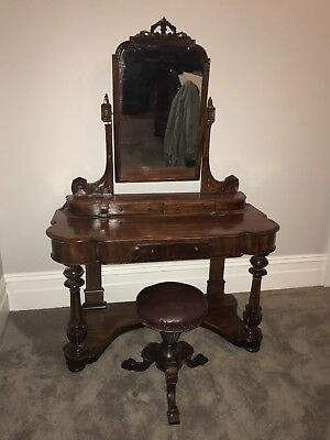 Antique Mahogany Dressing Table With Stool