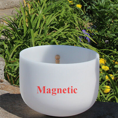 """Magnetic Frosted White D# Chakra Quartz Crystal Singing Bowl 8"""""""