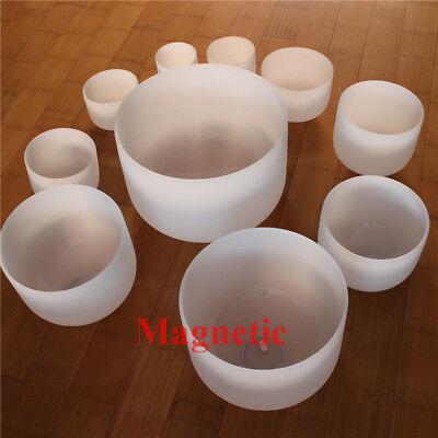 Magnetic Chakra Tuned Set of 7 Frosted Quartz Crystal Singing Bowl All 10 inch