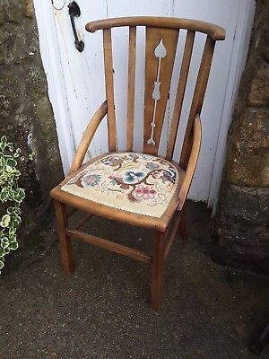 Arts & Crafts Style Vintage Wood Chair embroidered seat