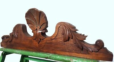 Hand Carved Wood Pediment Solid Antique French Shell Architectural Salvage Crest