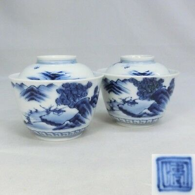 H463: Japanese old IMARI porcelain ware pair of covered bowl with landscape.
