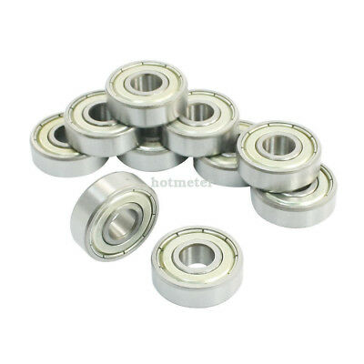 10 Pcs 608ZZ Double Metal Shields Deep Groove Ball Bearings 8x22x7mm