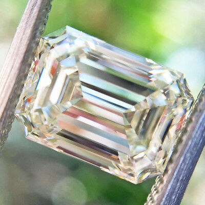 4.75 ct 8.60 x 6.80 mm VVS1 Off White Yellow Emerald Cut Loose Moissanite GBP