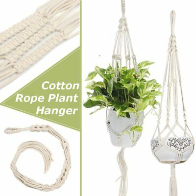 4 Cotton Rope Legs Plant Hanger Hanging Planter Basket Balcony Indoor Outdoor