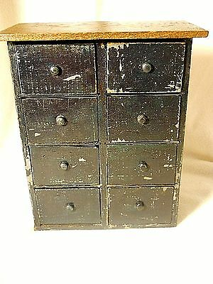 Antique Wood Spice Cabinet-Trinket Chest-Primitive Cabinet-Cigar Box Cabinet