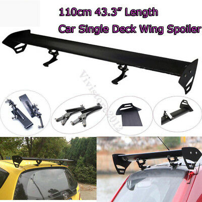 "AU 110cm 43.3"" Hatch Aluminum Adjustable Single Deck GT Rear Trunk Wing Spoiler"