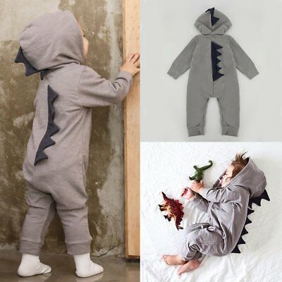 Newborn Baby Boys Cartoon Dinosaur Hooded Long Romper Bodysuit Jumpsuits Clothes