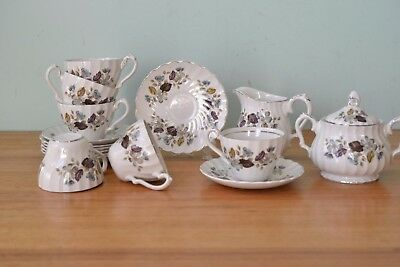 Vintage Myott ironstone tea cup & saucer set milk jug creamer and sugar pot PT4